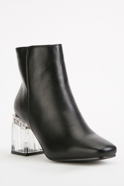 Transparent Block Ankle Boots