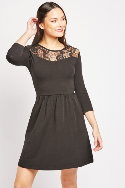 3/4 Sleeve Lace Insert Skater Dress