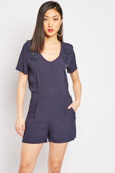 Embroidered Detail Navy Playsuit