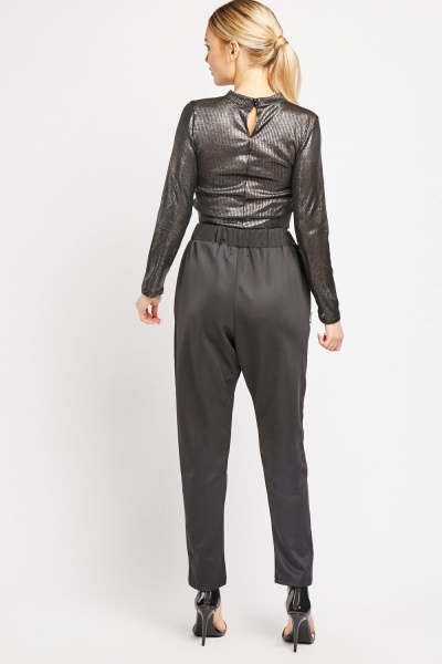Faux Leather Zipper Trim Trousers