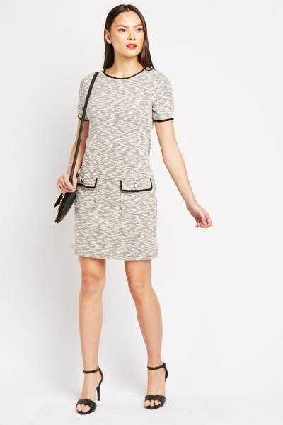 Flap Pocket Front Shift Dress