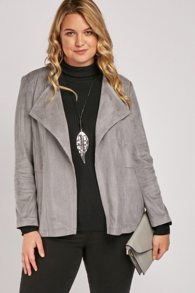Grey Perforated Waterfall Suedette Jacket