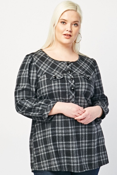 Imitation Flap Front Plaid Blouse