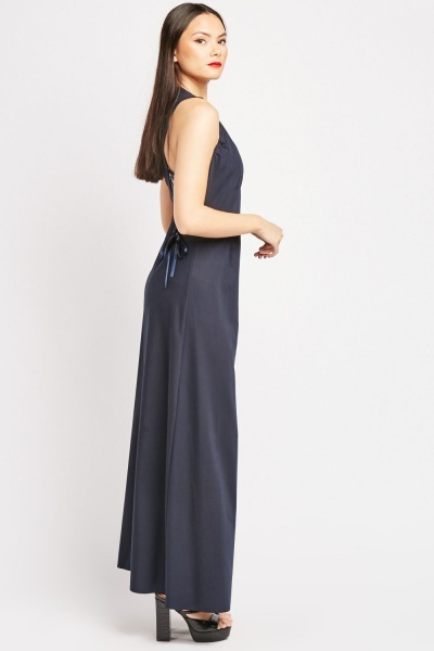 Low Plunge Patch Detail Maxi Dress