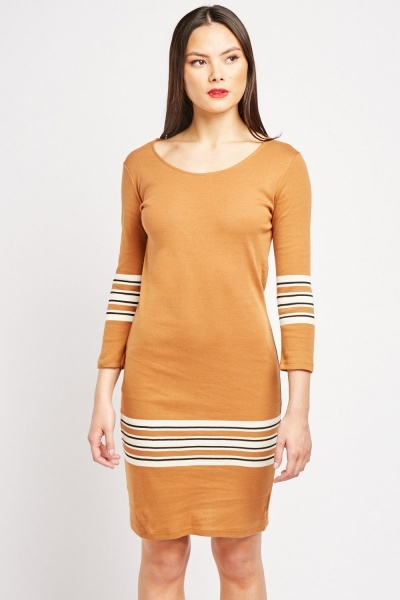 Striped Panel Midi Dress