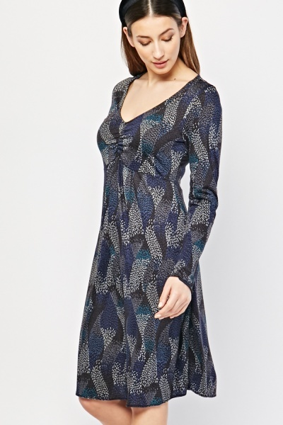 V-Neck Printed Tunic Dress