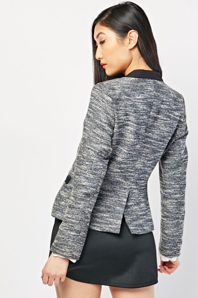 Zip Up Tweed Blazer