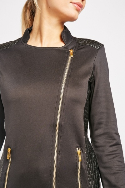 Diamond Quilted Trim Jacket