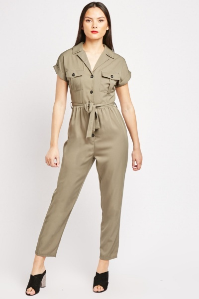 Khaki Button Front Utility Jumpsuit