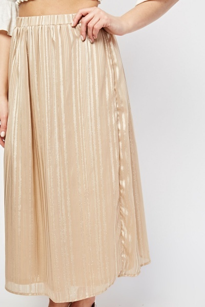 Metallic Stripe Midi Chiffon Skirt