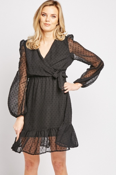 Bobble Textured Sheer Swing Dress