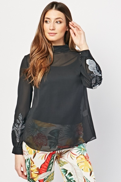 Embroidered Flower Encrusted Blouse