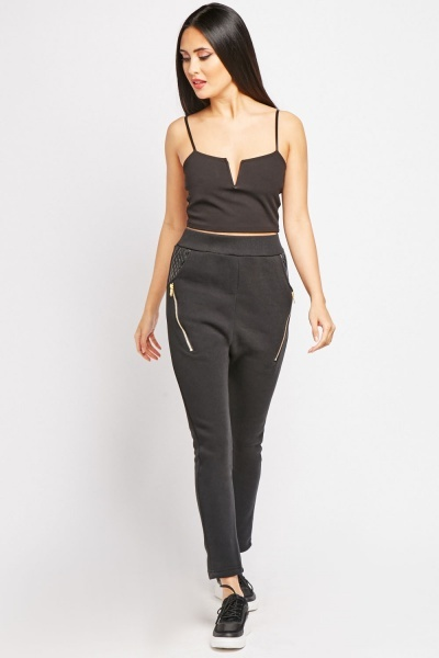 Faux Leather Pocket Jogger Pants