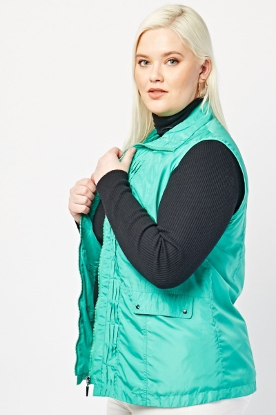 Panelled Green Zip Up Gilet