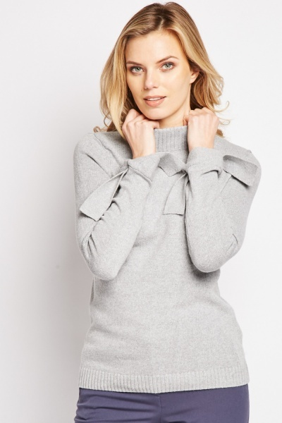 Tie Up Sleeve Knit Jumper