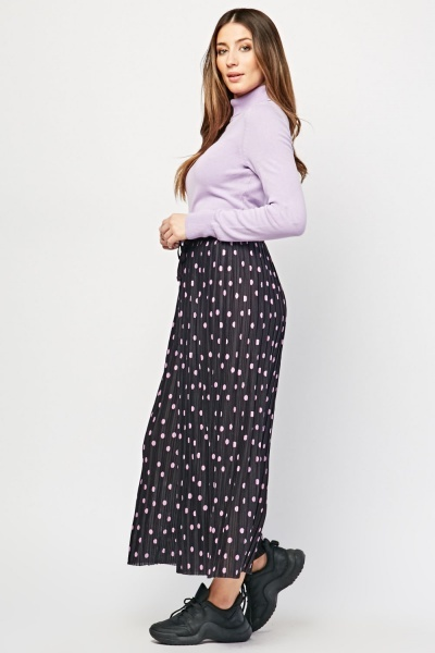 Wide Leg Polka Dot Pleated Trousers
