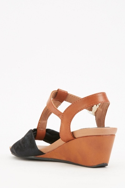 Black Shimmery Front Wedge Sandals