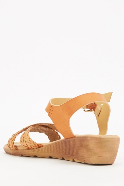 Contrasted Criss Cross Wedge Sandals