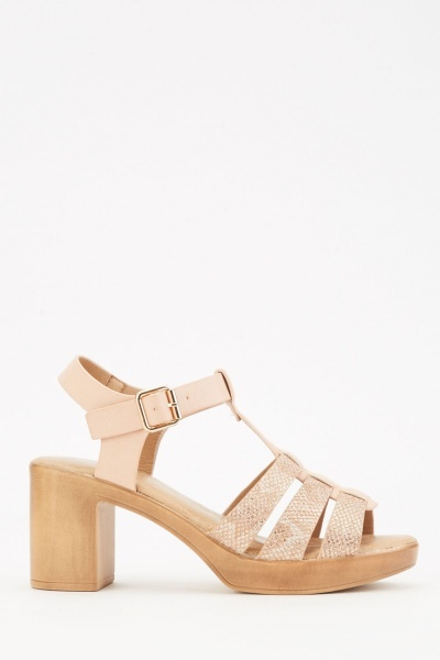 Contrasted Strappy Heel Sandals