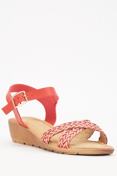 Cross Weave Strap Wedge Sandals