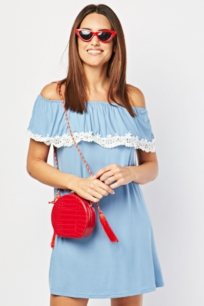 Crochet Ruffle Overlay Mini Dress