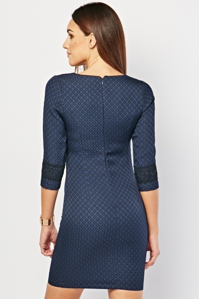 Diamond Patterned Textured Dress