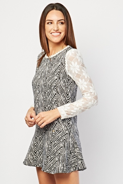 Lace Sleeve Zig Zag Dress