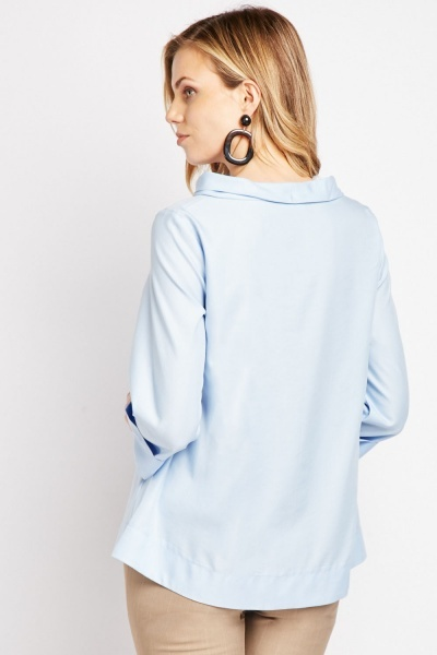 Slouchy Neck Rolled Sleeve Blouse