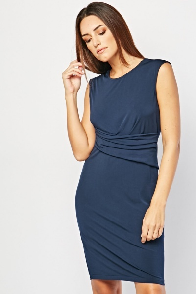 Draped Front Shift Dress