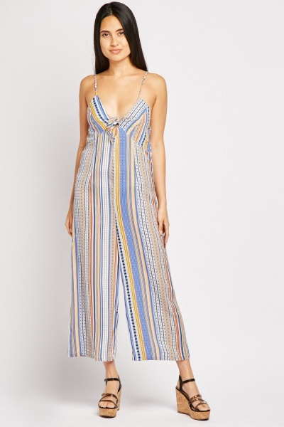 Tie Up Front Printed Jumpsuit