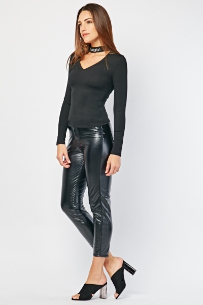 High Waisted Skinny Faux Leather Trousers