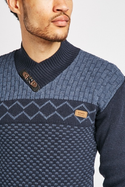 Men's Mixed Knit Detailed Jumper