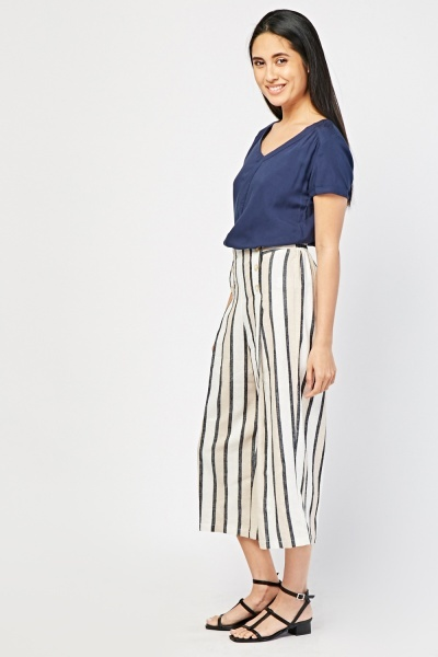 Button Detail Striped Culottes