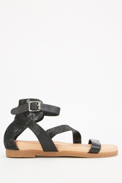 Metallic Insert Strappy Sandals
