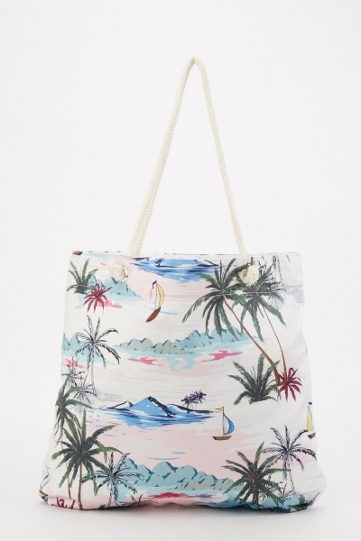 Mixed Palm Tree Beach Bag