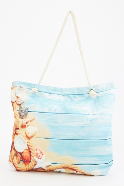 Mixed Print Beach Bag