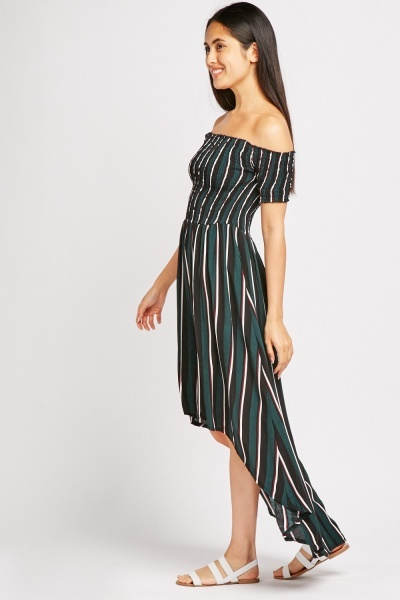 Shirred Panel Striped Dip Hem Dress
