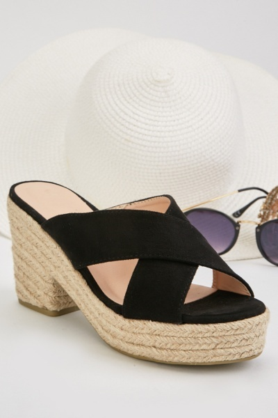 Criss Cross Strap Heel Sandals