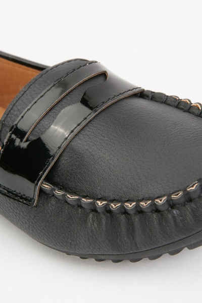 Top Stitched Flat Loafers