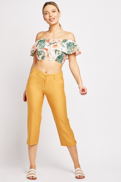 Plain Straight Fit Crop Trousers