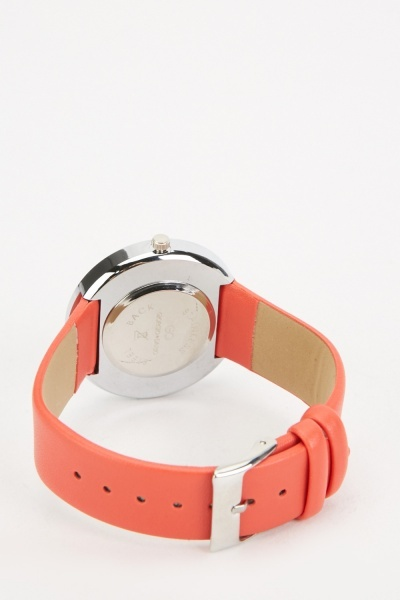 Move Stone Faux Leather Strap Watch