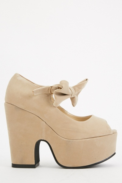 Chunky Bow Buckle Strap Heels