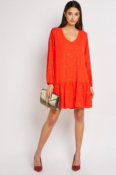 Encrusted Cotton Shift Dress