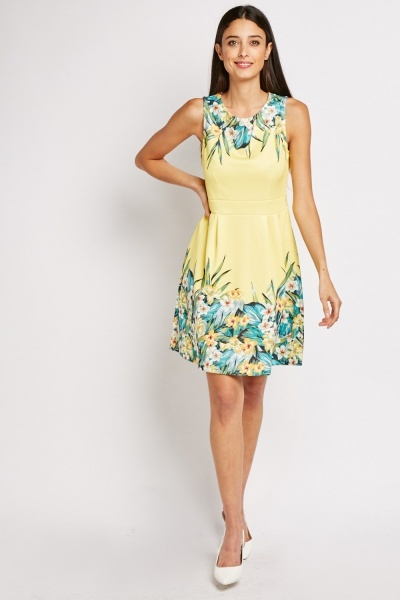 Tropical Print Box Pleated Skater Dress