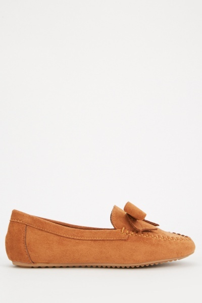 Bow Front Detail Suedette Loafers