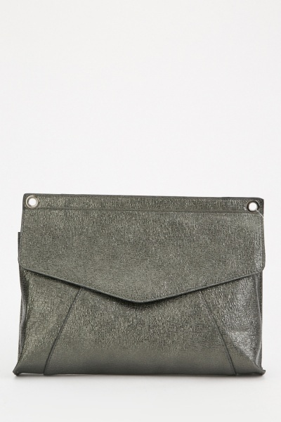 Metallic Textured Envelope Clutch Bag