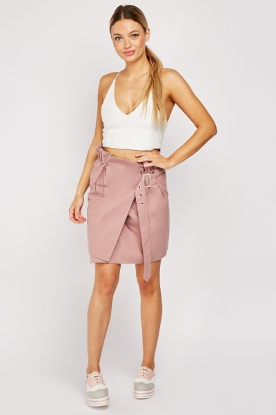Buckle Front Cotton Skirt