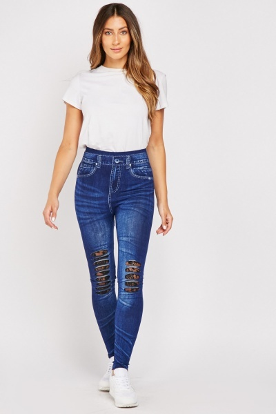 Distressed High Waist Jeggings
