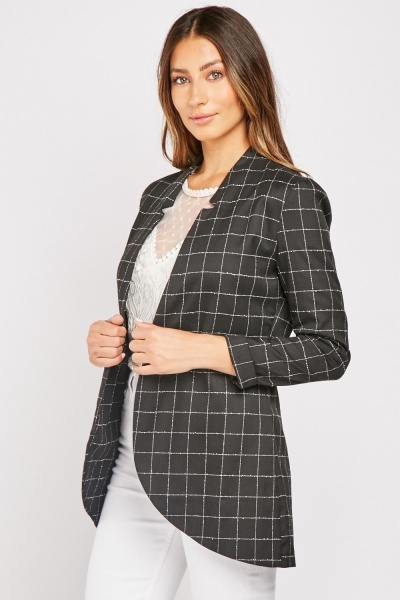 Window Pane Print Blazer
