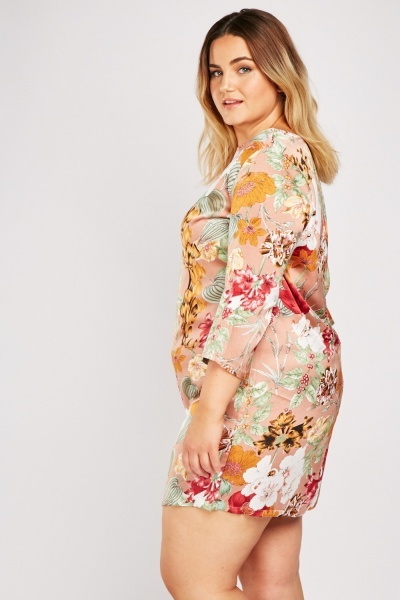 Botanical Floral Print Shift Dress